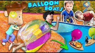 Download BUBBLE ROLL + INFLATABLE BALLOON BOATS! (FUNnel Vision Sumo Wrestling Bumper Fail) Video