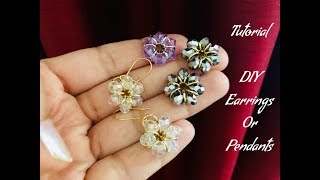 Download Simple flower Earrings with jump rings & crystals.Cute project Video