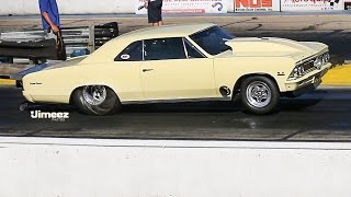 Download F3 PROCHARGED FUEL INJECTED '66 CHEVELLE RUNS 7.20@197.33MPH AT BYRON Video