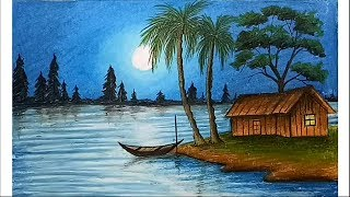 Download How to paint a scenery of moonlit night with oil pastels step by step Video