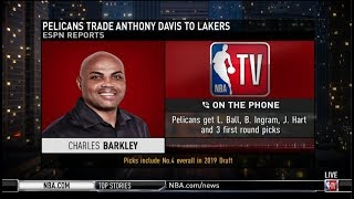 Download Charles Barkley on Pelicans trade Anthony Davis to Lakers for L. Ball, B. Ingram, J. Hart Video