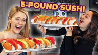Download I Challenged My Friend To Eat A 5-Pound Sushi Roll In 15 Minutes • Giant Food Time Video