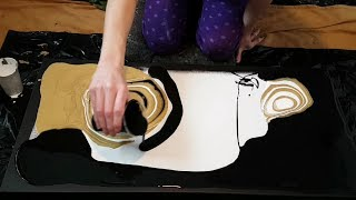 Download Black, White & Gold - 30″×15″ - Fluid Painting Video