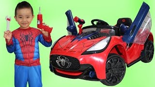 Download Unboxing New Spiderman Battery-Powered Ride On Super Car 6V Test Drive Park Playtime Fun Ckn Toys Video