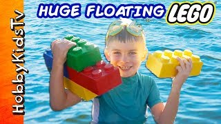 Download GIANT FLOATING LEGO Bricks with Surprise Toys! We Review and Build Lego Bricks with HobbyKids Video