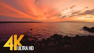 Download Sunset at Ahihi Bay, Maui, Hawaii - 4K Ocean View Relax Video - 3 HOUR Video