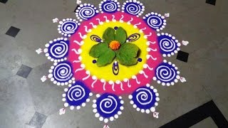 Download how to make dussehra special rangoli design - created by latest rangoli Video