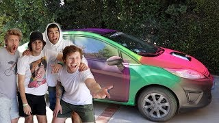 Download SPRAYPAINTING HIS CAR RAINBOW!! Video