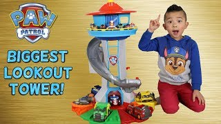 Download BIGGEST Paw Patrol Lookout Tower! Toy Unboxing With Chase Marshall Skye Rocky Rubble Zuma Ckn Toys Video