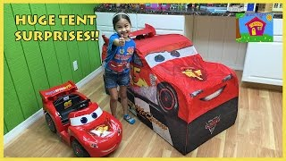 Download HUGE DISNEY CARS LIGHTNING MCQUEEN SURPRISE TOYS TENT Big Egg Surprise Opening Disney Cars ToyReview Video