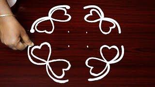 Download Butterfly kolam design with dots * 6 Dots rangoli designs * Beginners mugglu design Video