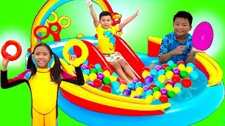 Download Wendy Pretend Play with Giant Rainbow Inflatable Kids Swimming Pool Video