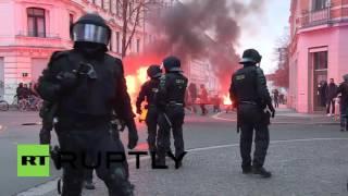 Download Germany: Water cannon deployed at fiery Leipzig protest against far-right demos Video