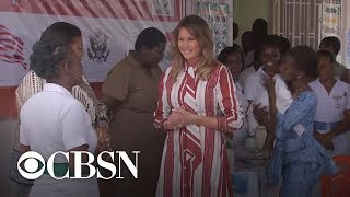 Download Melania Trump visits children's clinic, Ghana's first lady on Africa tour Video