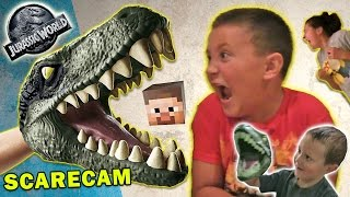 Download Jurassic World Scare Cam + Minecraft & Box Stair Cam (FUNnel Vision Velociraptor Fun) Video