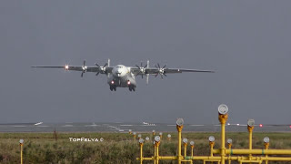 Download Crosswind Take Off Word's Biggest Turboprop Antonov AN 22 Manchester Airport Video