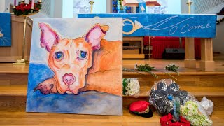 Download Ollie, the pit bull who was maimed and left for dead was honored this Sunday at a church in Hollywo Video