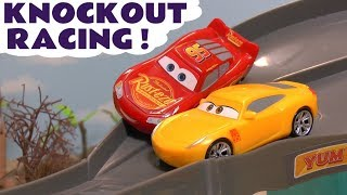 Download Disney Cars Toys McQueen Cars 3 Knockout Racing with funny Minions & Hot Wheels Car for kids TT4U Video