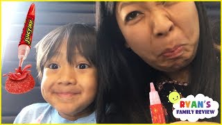 Download Sour Candy Challenge Kid on the Airplane Surprise Toys Opening with Ryan's Family Review Video