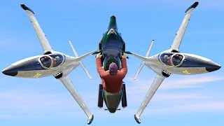 Download FLYING BIKE BETWEEN TWO JETS! (GTA 5 Funny Moments) Video