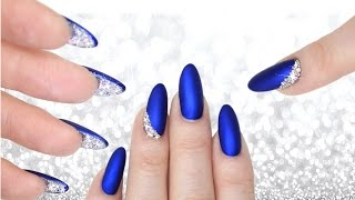 Download LUXE BLUE VELVET & DIAMOND PEEKABOO NAILS - DOUBLE SIDED MANI CRYSTAL NAILART Video