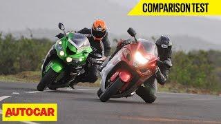 Download Suzuki Hayabusa VS Kawasaki Ninja ZX-14R | Comparison Test | Autocar India Video
