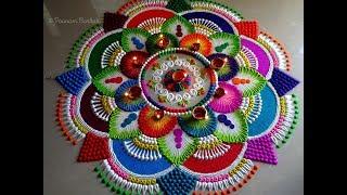 Download Big rangoli for Diwali   Colorful, attractive and unique rangoli design for festivals Video