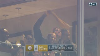 Download Ryan Shazier Waves Terrible Towel from Stands & Cheers On His Team!   Pats vs. Steelers   NFL Wk 15 Video