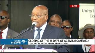 Download Pres. Zuma address speech on closing of 16 days of activism campaign Video