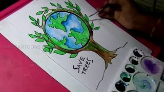 Download How to Draw Save Trees and Save Nature Color Drawing for Kids Video