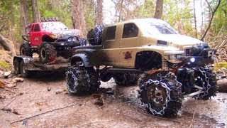 Download RC ADVENTURES - OVERKiLL PUTS CHAiNS ON PiNKY ~ MUDDY SCALE 4x4 TRUCKS & TRAILER Video