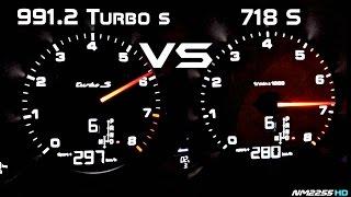 Download Porsche 991.2 Turbo S vs. Porsche 718 Boxster S 0-280km/h Acceleration Comparison Video
