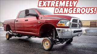 Download I PUT TINY CAR WHEELS ON MY LIFTED TRUCK! Video