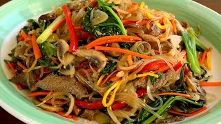 Download Japchae (Glass noodles stir-fried with vegetables: 잡채) Video