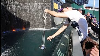 Download Scooping baseballs from the fountain at Kauffman Stadium Video