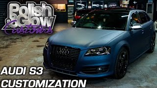 Download Orange Audi S3 wrapped to Mariana Blue with Headlight & Taillight Tints | P&G Customs Video