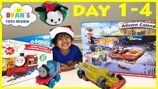 Download SURPRISE TOYS Christmas Thomas Train Disney Tsum Tsum Hot Wheels Toy Cars Advent Calendar Day 1-4 Video