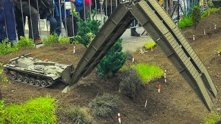 Download AMAZING RC MODEL BRIDGE LAYER TANK M48 PATTON AVLB IN ACTION!! RC MILITARY VEHICLES Video