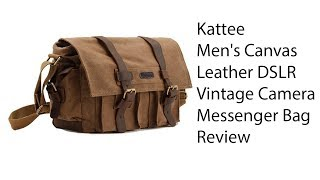 Download Kattee Men's Canvas Leather DSLR SLR Vintage Camera Messenger Bag Review Video