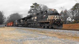 Download NS 175 lugs its long train southbound in Stockbridge, Ga. Video
