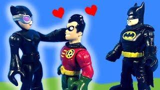 Download Imaginext Robin Likes Catwoman and Takes Batman's Bat-Pod Video