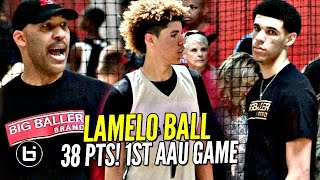 Download LaMelo Ball Gets SAUCY in 1st AAU Game W/ LaVar Coaching & Lonzo Watching!! Melo Leads Team Win!! Video