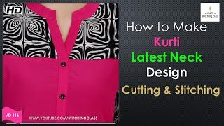 Download Neck Design for Kurti || Kurti Neck Design Cutting and Stitching || Video