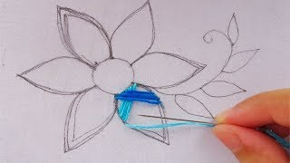 Download hand embroidery modern flower embroidery,easy flower stitch Video