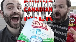 Download American explores Canadian grocery store (tries BAGGED milk and Ketchup chips) Video