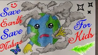 How To Draw Easy Save Earth Drawing For Kids Free Download Video Mp4