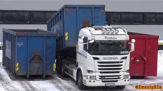 Download 4K| Scania R620 Hook Lift Unloads & Loads Containers Video