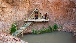 Download Build bamboo house near nature swimming pool on the cliff   Building Skill Video