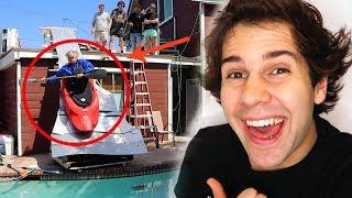 Download DAD BUILDS KAYAK SLIDE OFF OF HOUSE!! Video