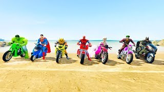 Download LEARN COLORS and Numbers for kids with Superhero Motorbikes and jetski Jump Video